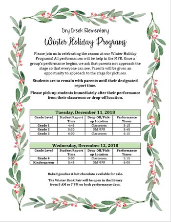 Winter Holiday Program Schedule