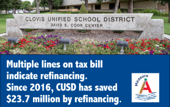 Multiple Lines on Tax bill indicate refinancing. Since 2016, CUSD has saved 23.7 by refinancing.